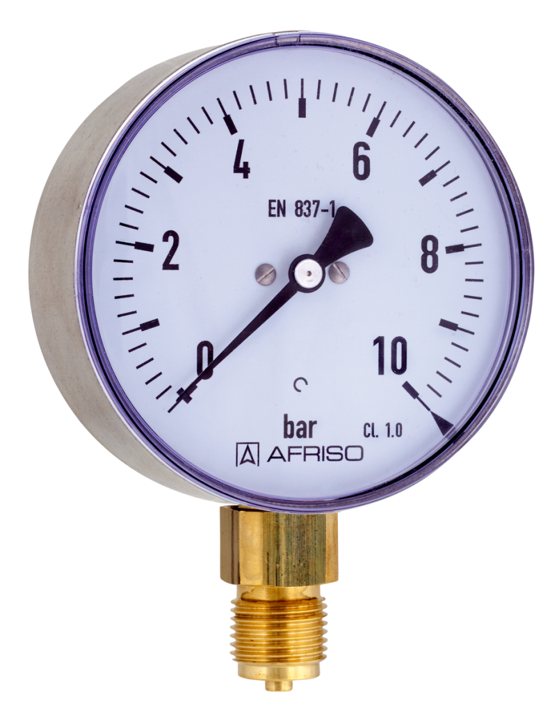 Bourdon tube style analog pressure gauge