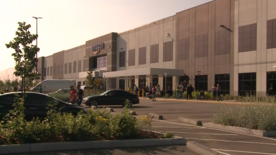 Amazon employees waiting outside of warehouse after carbon monoxide incident