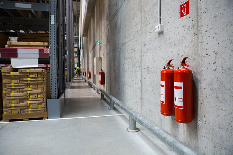 warehouse fire prevention with fire extinguishers